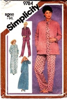 Simplicity 9784 Pajamas, PJs, Robe, Bed Jacket, Nightgown Sewing Pattern 16 B38 Used