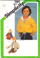 Simplicity 9819 Child's Hooded Baseball Hoodie Jacket Sewing Pattern 6 Uncut