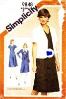 "Simplicity 9848 V-Neck, Knee Length, Princess Seam Dress & Blazer Jacket Sewing Pattern 14 B36"" Uncut"