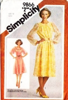 "Simplicity 9866 Jewel Neck, Flutter Sleeve Dress Sewing Pattern 10 B32"" Uncut"