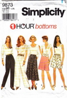 "Simplicity 9873 Pull-on, Paperbag Waist Pants, Flared Skirt & Wide Leg Shorts Sewing Pattern Waist 32-39"" Uncut"