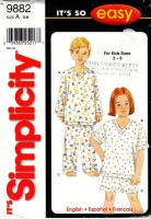 Simplicity 9882 Child's Sleepwear, V-Neck Pajama Top & Pants, PJs, Sewing Pattern 3-8 Uncut