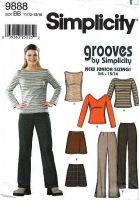 "Simplicity 9888 Juniors Boot Cut Knit Pants, Mini Skirt, V or Bateau Neck Knit Top Sewing Pattern 11/12-15/16 B33-36"" Uncut"