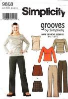 "Simplicity 9888 Juniors Boot Cut Knit Pants, Mini Skirt, V or Bateau Neck Knit Top Sewing Pattern 3/5-9/10 B28-32"" Uncut"