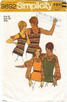 """Simplicity 9892 Unisex Tank Top & Pullover Puff Sleeve Shirt Sewing Pattern 16 Chest 38"""" Used"""