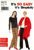 "Simplicity 9915 Stretch Knit Top, Pants & Shawl Wrap Cape Sewing Pattern 10-22 B32-44"" Uncut"