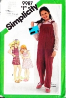 Simplicity 9987 Girls' Jumpsuit, Romper, Sundress, Overalls Sewing Pattern 7-8 Uncut