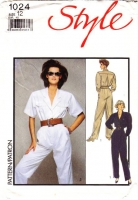 "Style 1024 Misses' Military Flight Suit Inspired Jumpsuit Sewing Pattern 12 B31-38"" Uncut"