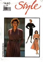 "Style 1440 Wrap Bodice, Full or Slim Skirted Dress Sewing Pattern 16 B38"" Uncut"
