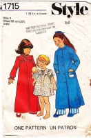 Style 1715 Girls Nightdress, Nightgown, Night Gown, Robe, Sleepwear Sewing Pattern 4 Uncut