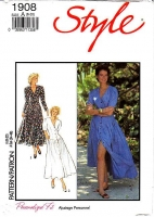 "Style 1908 Fit & Flare V-Neck Button Front Dress Sewing Pattern 8-20 B31-42"" Uncut"