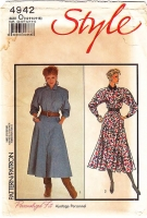 "Style 4942 Fit & Flare, Button Front, Long Sleeve Dress Sewing Pattern 12-16 B34-38"" Uncut"