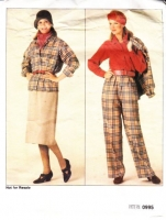 "Vogue 0995 Belted Shirt Jacket, Straight Trouser Skirt, Wide Leg, Pleated Pants & Blouse Sewing Pattern 8-12 B31-34"" Uncut"