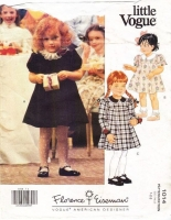Vogue 1014 Toddlers' Fingertip Length A-Line Dress Sewing Pattern 1-2 Used