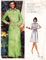 "Vogue 1072 Western Yoke, Button Front, Belted Maxi or Knee Length Dress Sewing Pattern 10 B32"" Used"