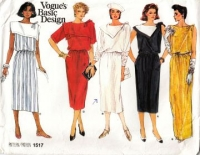 "Vogue 1517 Square or Triangle Sailor Collar Blouson Dress Sewing Pattern 12 B34"" Uncut"