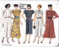 Vogue 1717 80s Drop Shoulder Dress Sewing Pattern 8-12 B31-34 Uncut
