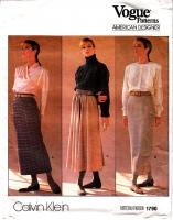Vogue 1790 Calvin Klein Straight or Flared Skirt Pattern 8 Uncut