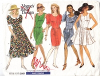 Vogue 2061 80s Scoop Neck, Curved Waist Dress Sewing Pattern 12-16 B34-38 Uncut