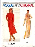 Vogue 2162 Chloe Knee or Evening Length, Pintuck Dress Sewing Pattern 14 B36