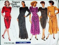 "Vogue 2381 Dropped Waist, Shoulder Pad, Full or Slim Skirt Dress Sewing Pattern 12-16 B34-38"" Uncut"
