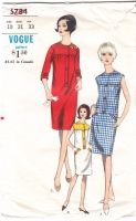 Vogue 6784 60s Jewel Neck Shift Dress Sewing Pattern 10 B31