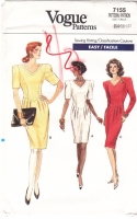 Vogue 7155 80s Fitted, Shaped Waist Dress Sewing Pattern 14-18 B36-40 Uncut