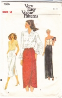 Vogue 7305  Straight, Side Slit or Tulip Slit Skirt Sewing Pattern 16 W30
