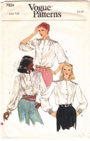 Vogue 7524 Standing Collar, Button Front Blouse Sewing Pattern 14 36