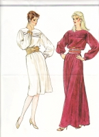 Vogue 8451 80s Tuck Front, Day or Evening Dress Sewing Pattern 14 B36 Uncut