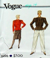 "Vogue 8496 Bold Wide Shoulder Pad Jacket, Cuffed Pants & Straight Skirt Sewing Pattern 14 B36"" Uncut"