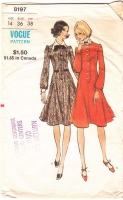 Vogue 8197 Princess Seamed, Flared Dress Sewing Pattern 14 B36