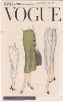Vogue 8926 50s Easy One-Piece, Side Button Skirt Sewing Pattern W24