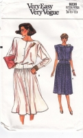 Vogue 9236 80s Button Front, Blouson Dress Sewing Pattern 8-12 B31-34 Uncut