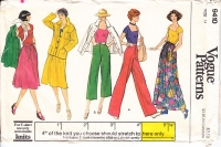 Vogue 9410 70s Jacket, Skirt, Pants, T-Shirt Sewing Pattern 14 B36 Uncut
