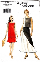 Vogue 9491 Long or Short Pullover Top and Skirt Sewing Pattern 6-10 Uncut