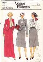 Vogue 9858 Skirt Suit, Jacket, Blouse, Scarf Sewing Pattern 10 B32