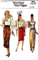Vogue 9984 Straight Skirt with Waterfall Drape Sewing Pattern 14-18 W28-32 Uncut