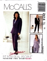 McCalls 2414 Career, Business Suit, Jacket & Pants Sewing Pattern 16 B38 Uncut