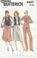 Butterick 6407 Jacket, Vest, Skirt, Pants Sewing Pattern 70s Junior 7 B32 Uncut
