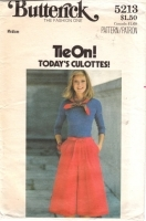Butterick 5213 Tie On Culottes Skirt Pants Vintage 70s Sewing Pattern Med Uncut