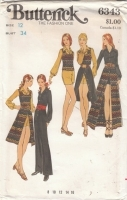 Butterick 6343 Vintage 70s Jumpsuit, Skirt, Top Sewing Pattern 12 B34 Uncut