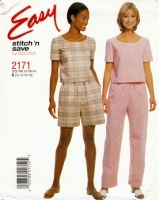 McCalls 2171 Top, Pull-on Pants & Shorts Sewing Pattern 12-18 B34-40 Uncut
