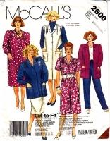 McCalls 2600 Plus Size Jacket, Jumper Dress, Pants & Skirt Sewing Pattern Half Size 20.5-24.5 Uncut