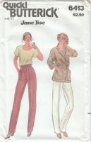 Butterick 6413 Jacket, Pants, Top Sewing Pattern Juniors 11 B33 Uncut