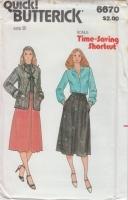 Butterick 6670 70s Junior Jacket, Blouse, & Skirt Pattern 9 B32 Uncut