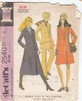 McCalls 2540 1970s Coat, Jacket & Pants Sewing Pattern 12 B34 Uncut