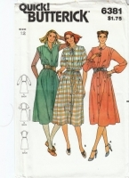 Butterick 6381 Classic Button-Front Shirt Dress Sewing Pattern 12 B34 Uncut
