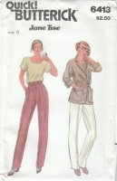 Butterick 6413 Jacket, Pants, Top Sewing Pattern Juniors 5 B30 Uncut