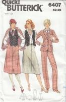 Butterick 6407 Jacket, Vest, Skirt, Pants Sewing Pattern 70s Junior 13 B35 Uncut